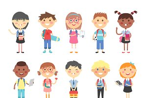 School kids vector illustration