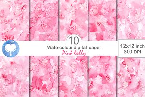 Watercolor Digital Paper Pink Lolly