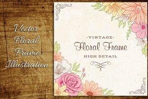 Vintage Flower Frame Corners