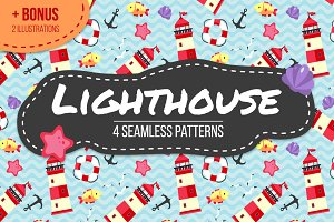 Lighthouse seamless pattern