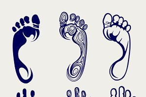 Footprints and handprints ball pen