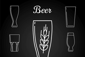 Line beer glasses on blackboard