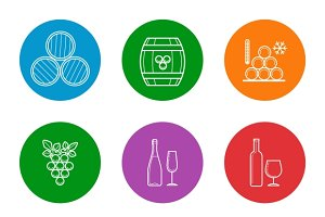 Wine line icons set