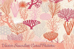Vector Coral Texture and Silhouettes