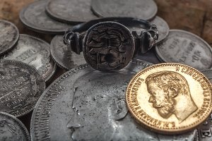 old ring and coins