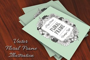 Vector Vintage Flower Label
