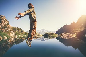 Happy Man Flying levitation jumping
