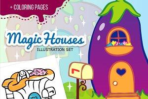Magic houses illustrations set