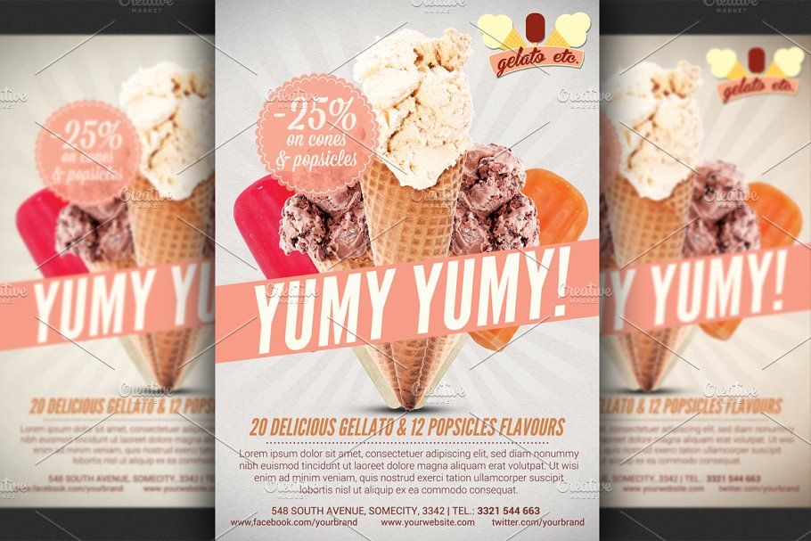 Ice Cream Shop Offer Flyer Template Flyer Templates Creative