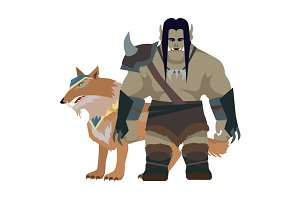 Orc Warrior with Wolf