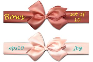 Set of 10 colorful satin bows