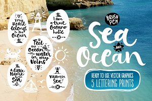 Vector SEA and OCEAN brushpen set