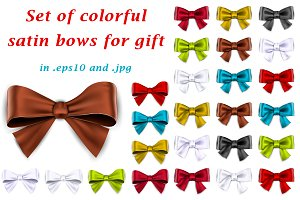 Colorful satin bows for gift.