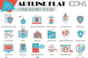 36 Cyber security flat line icons