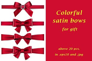 Above 20 colour satin bows for gift