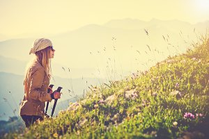 Traveler Woman mountaineering Travel