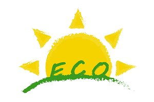 Eco product label. Sunrise. Vector