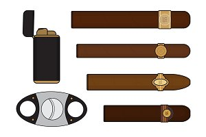 Cigar smoker set. Vector