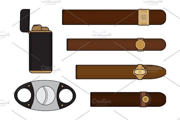 Cigar smoker set. Vector in Illustrations