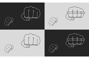 Striking fists. Vector