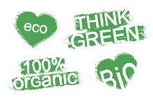 Green organic product stamps. Vector