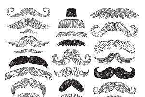 Huge set of vector mustache