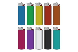 Disposable lighters set. Vector