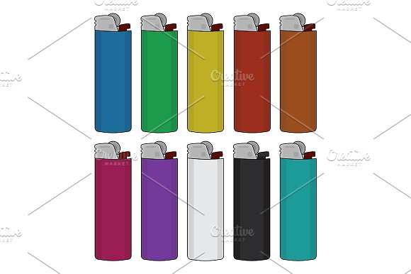 Disposable lighters set. Vector - Illustrations