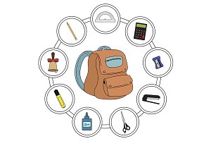 School backpack contents. Vector
