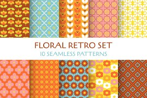 Floral Retro. 10 Seamless Patterns