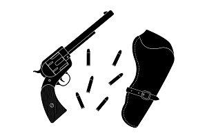 Wild west revolver. Vector