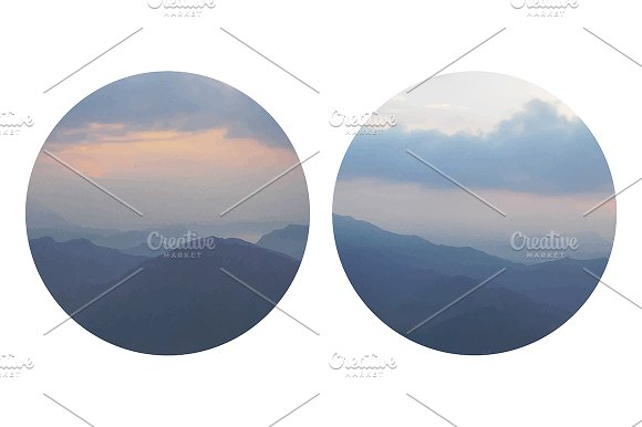 Mountains painting. Vector
