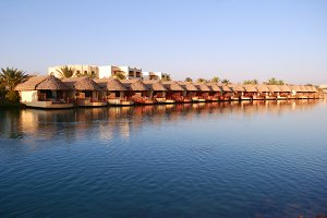 resort bungalows on water