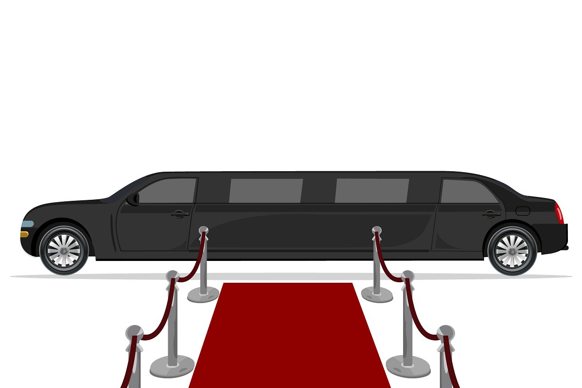 black limousine and red carpet