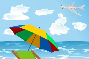 beach with umbrella, lounge chair