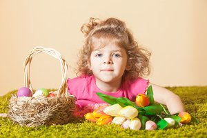 Girl with Easter decor