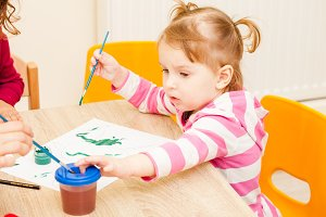 Girl is painting