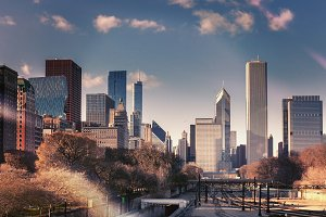 Chicago skyline in sunny spring day tinted