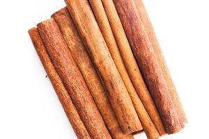 Cinnamon sticks isolated