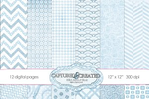 Wild About Blue Digital Paper Pack