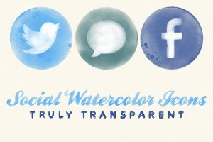 Social Media Watercolor Icons
