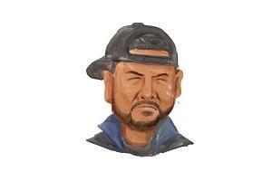 African-American Man Beard Hat