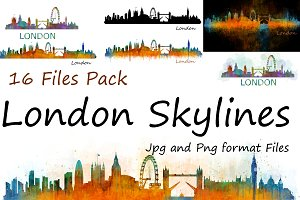 10x files Pack London Uk Skylines