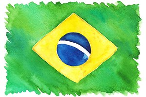Watercolor Brazil Brazilian flag