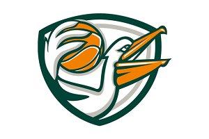 Pelican Dunking Basketball Crest