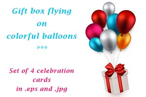 Cards with gift and colour balloons
