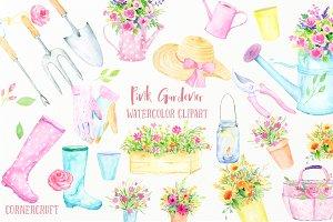 Watercolor Clip Art Pink Gardener