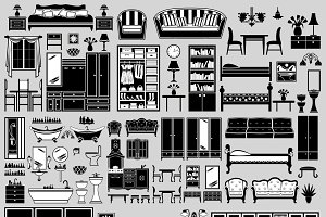Set of the furniture icons