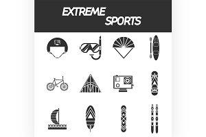 Extreme sports icon set