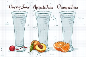 Glasses of juices on a notebook page